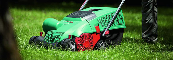 Bosch and Lawnflite scarifiers and lawn rakes